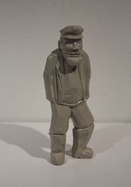 plastic 3d print of old man by artist in maya