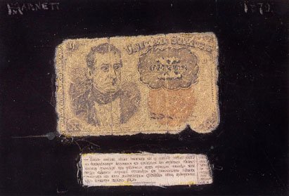 ten cent bill shinplaster trompe l'oeil painting by william harnett