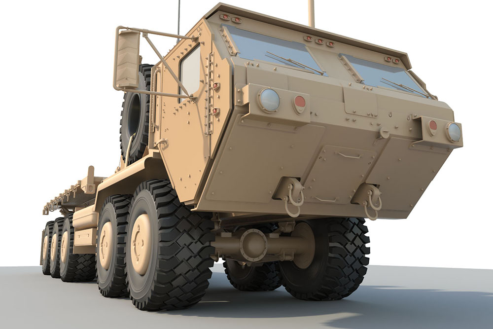 3d model of m1075 army truck done in maya by jeff wincek